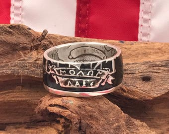 Molon Labe 1oz .999 Silver Coin Ring/Coin Rings/Coin Jewelry/US Coin Rings/Wedding Band/Gifts for Him/Handmade/Come and Take Them