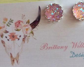 12mm- light pink druzy earrings