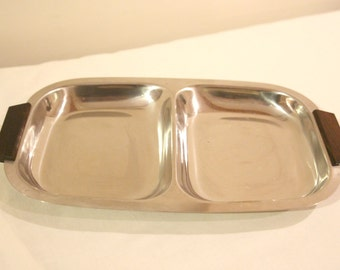 Mid century stainless steel & teak Danish serving dish by Daninox
