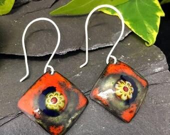 Kiln fired vitreous enamel earrings / dangle earrings / sterling silver hooks / hand crafted / copper earrings / orange / blue / yellow /