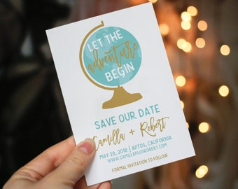 Adventure Save the date, Digital save the date, Save Our Date, the adventure begins, Minimalist Save the date, Modern Save-the-date