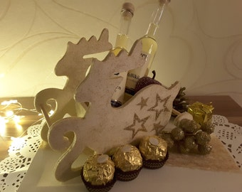 Stuffed reindeer sleigh, Christmas gift