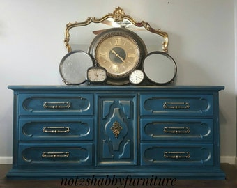 """Vintage Teal Blue and Gold Dresser/ Credenza very solid Hollywood glam amazing hardware 9 drawers 72"""" wide perfect for a T.V. Console"""