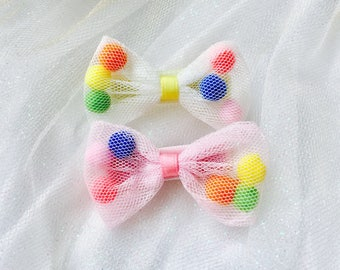 Baby hair clips baby bows baby barrettes mini bows mini pompom bows infant barrettes non slip hair clips