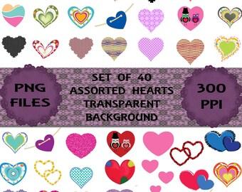 Set of 40 Assorted Hearts, Clip Art Set, Instant Download.