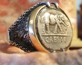 Ancient Authentic Silver Julius Caesar Legions Pay Men's Ring