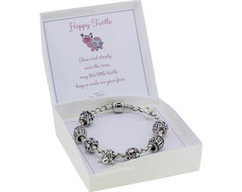 Happy Turtle Charm Bracelet Pandora Style with Gift Box