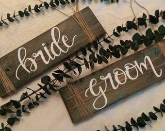 Bride & Groom chair signs, Bride and Groom signs, Rustic Bride and Groom signs, Rustic wedding decor, boho bride and groom signs