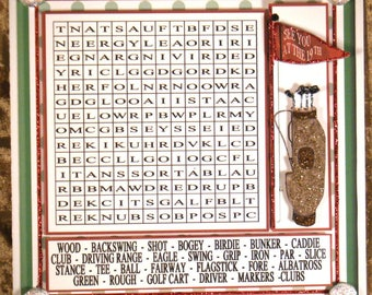 Word Search Golf Themed Multi-Occasion Game/Card