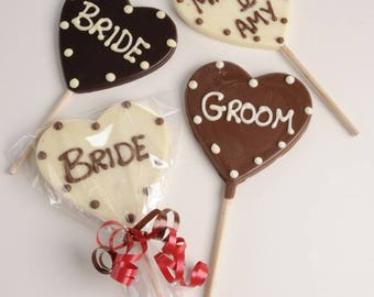 Chocolate Lollipop Placename- with Personalised Names. Ideal for weddings and Parties
