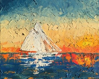 Original artwork. Sea memories. Yacht, Sea, Sunset, Oil on canvas.
