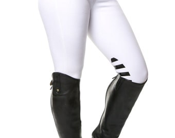 Ladies White Silicone Knee Horse Riding Breeches