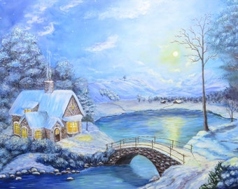 Fairytale cottage winter landscape painting cottage painting Original painting Winter fairytale Winter cottage Winter lake painting frozen