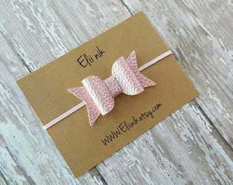 Pink bow , Faux leather bow headband, baby headband, baby bow headband, Newborn headband, infant bow headband