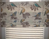 Vintage Farmhouse Script Bird Blue Yellow Taupe-brown Grey Faux Roman Shade Window Treatment Rustic Kitchen Bedroom Bathroom Sunroom Office