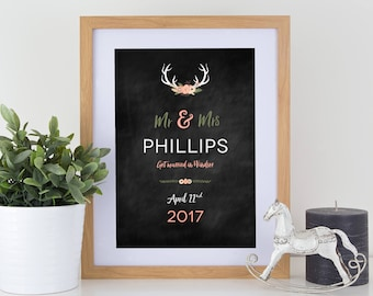 Personalised wedding anniversary antler floral couple print on chalkboard effect background with or without frame