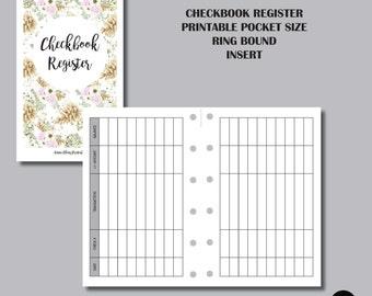CHECKBOOK REGISTER: Pocket Ring Bound Sized Printable Insert