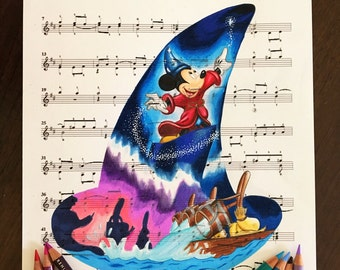 Fantasia Print on Music Sheet - Original Concept Art of Sorcerer Mickey - Perfect for Disney Gift