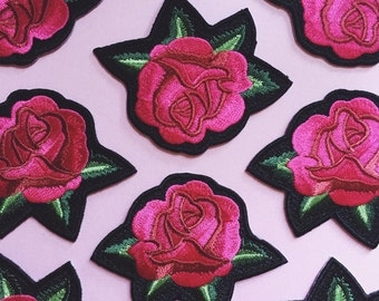 Pink Rose Iron on Patch