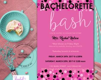 Bachelorette Party Invitation Template, Bachelorette Party Invite, Bachelorette Bash, Ladies Night, Digital Instant Download PDF, All Black