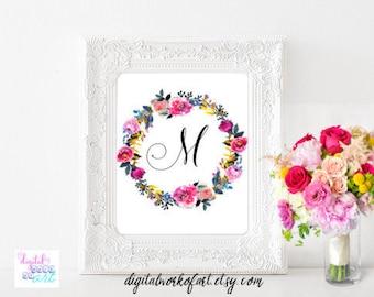 Custom Floral Monogram, Customized Monogram, Calligraphy Monogram, Calligraphy Initial,Baby Name Print,Girl's Monogram,Digital Inital Print