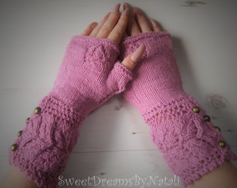 Lacy Wrist Warmers/Hand Knitted Wrist Warmers/Fingerless gloves/Hand warmers