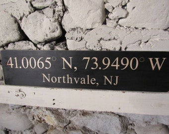 Handmade Geographical Coordinates Hometown Solid Wood Sign Any Town Any Color  24 x 5.5 Inches