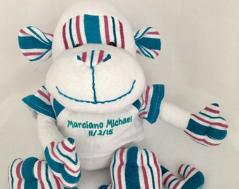 Stuffed Memory Monkey made from your baby's newbor blanket