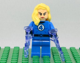 Sue Storm Richards Invisible Woman Custom minifigure (Lego Compatible) Marvel Comics Superhero Fantastic Four 4 Avengers Christmas Stocking