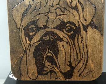 Woodburned English Bulldog Trivet