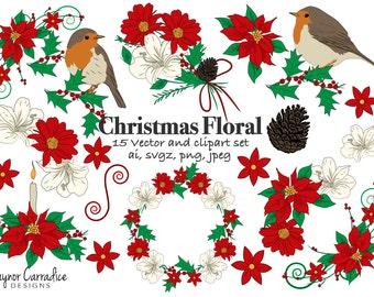 Christmas clipart, christmas flowers clipart, poinsettia clipart, christmas vectors, christmas graphics, robin clipart, Holiday clipart