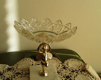 Vintage Dish on Compote Marble Stand