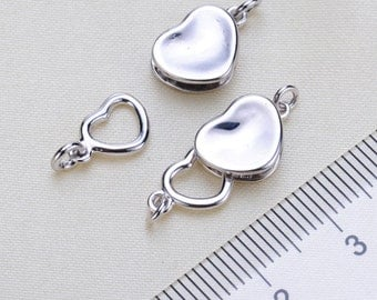 Heart claps, sterling silver bracelet clasps,Bracelet Necklace Connector, bracelet clasps, Bracelet making  Necklace making, 2pcs,  PEA26