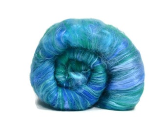 Carded Spinning Batt, Spinning Fiber, Merino, Silk, Angelina - Blue Green - 4 oz.