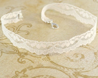 Lace Neck Choker - Ivory - Lace Choker - Free US Shipping