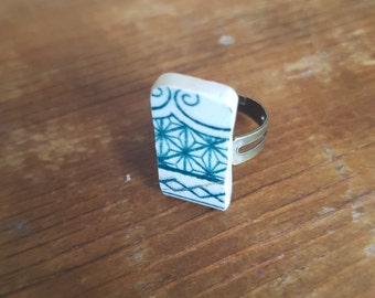 Broken china ring green pattern adjustable ring