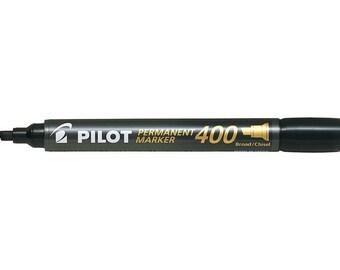 Pilot Permanent Marker 400, Broad Chisel Tip, Black Single Pen, Glass Marker, Paper Marker, Water Resistant, Xylene & Toluene Free