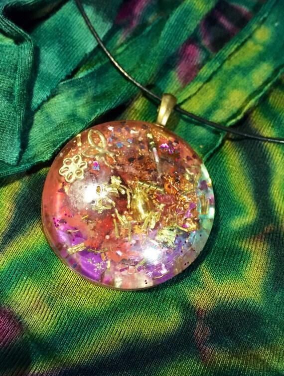 Stardust Orgonite® Pendant- Orgone Energy Necklace- Light Worker Energy Enhancer- Spirit Guide Crystal Energy Orgonite®- Starseed Indigo