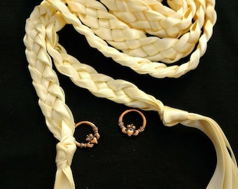 Ivory Handfasting Ceremony Braids- Antique Bronze Claddaghs- Fast Shipping- Irish- Wedding- Braided Together- Handfasting