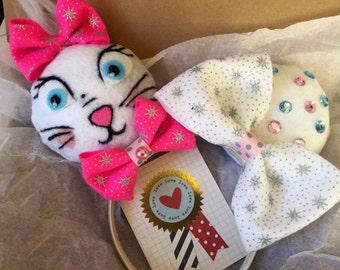 Disney Ears, Minnie Ears, Mickey Ears, Disney Pink Bow, Marie Aristocats Ears