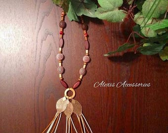 Woman's Long Boho Feather Necklace