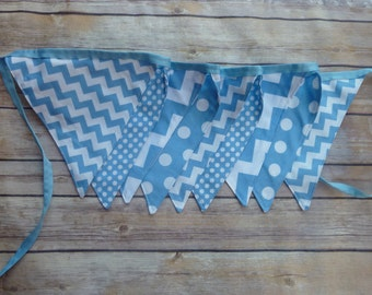 Blue Banner, Birthday Party Decoration, Bunting, Fabric Banner, Flags, Photography Prop, Garland , Chevron, Dots