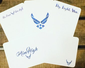 Air Force Note Cards- Military Note Cards- Military Deployment Gift- Military Promotion Gift- Custom Note Cards- Military Gift- Set of 10