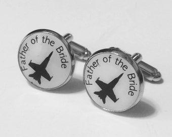 Custom Cufflinks- Father of the Bride Cuff Links- Aviation Cuff Links- Aviation Wedding- Aviation Gift