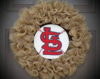 Rustic StL Cardinal Baseball Burlap Jute Wreath