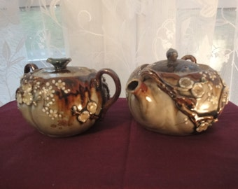 Russian Tea Pot & Sugar Bowl  with bird on top  in shades of brown