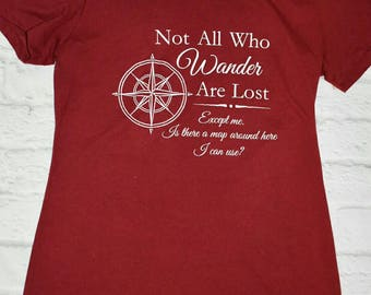 Crimson/burgundy shirt, not all who wander are lost, compass shirt