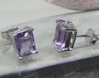 Chips silver Amethyst earrings purple