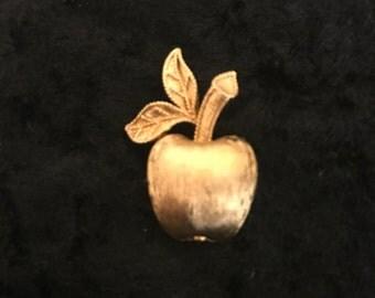 Vintage Avon Gilded Apple Brooch, Gold Tone