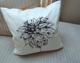 Etched Dahlia Cushion Yellow